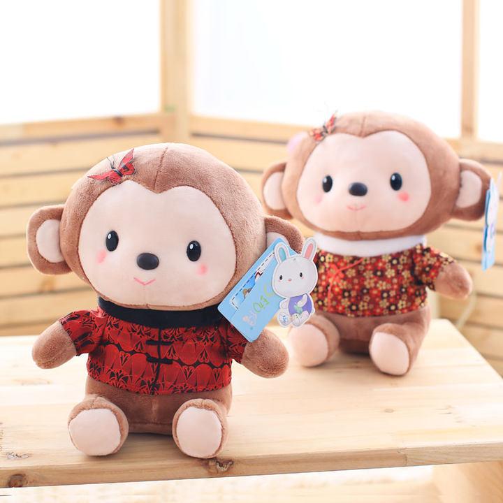 超萌新年唐装小猴子毛绒玩偶