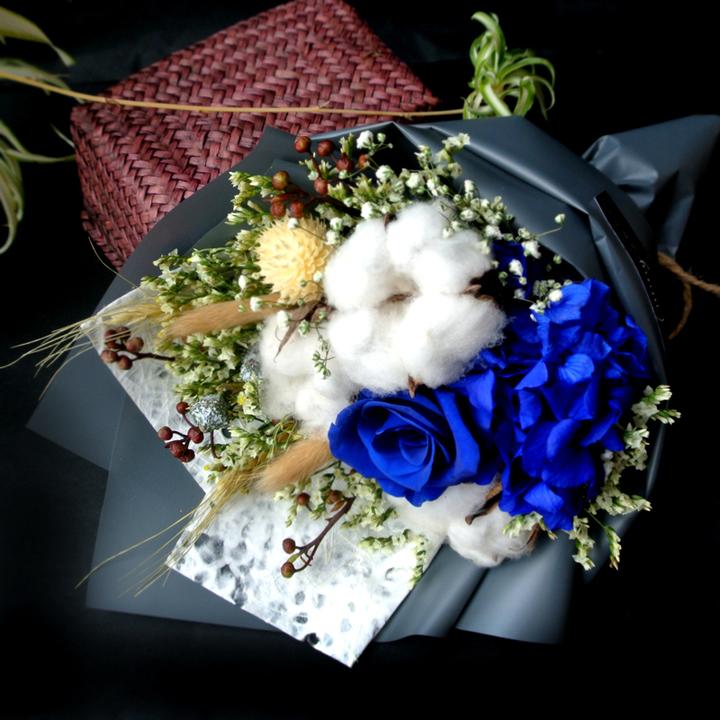 玫瑰永生花棉花干花花束