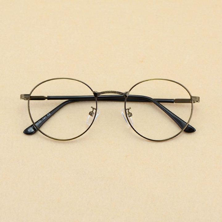 学院文艺复古圆框眼镜框细边金属