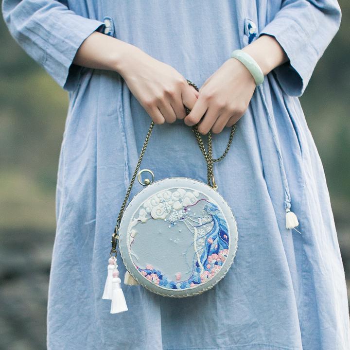 王的手创 女娲补天diy刺绣材料包手作口金包套装立体绣创意礼物