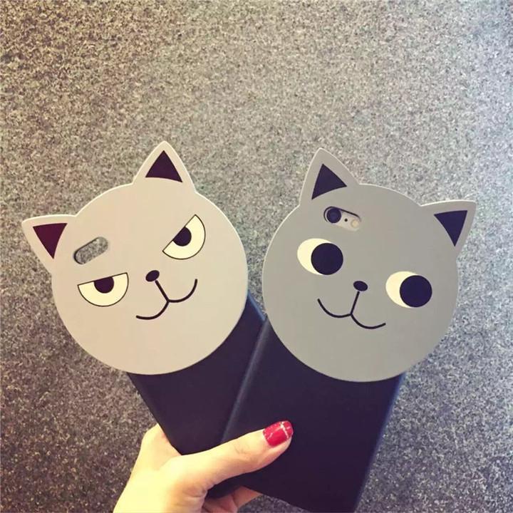 韩国代购邪恶可爱猫脸iphone手机壳
