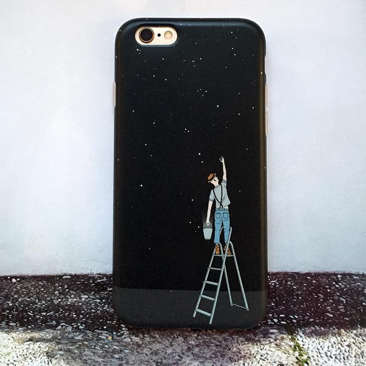【黑色摘星星苹果6s手机壳】【送男朋友 送女朋友 送