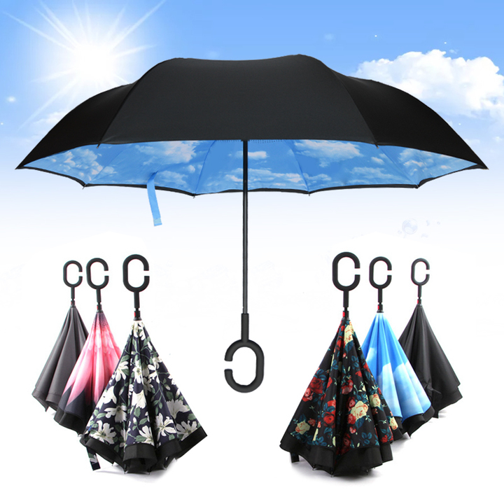 长柄创意反折双层雨伞图片