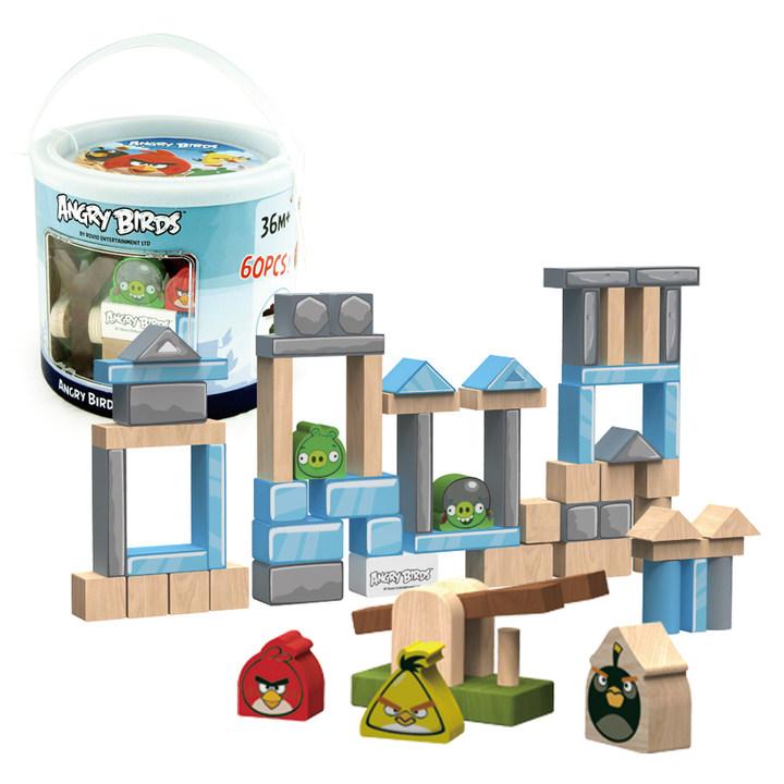 愤怒的小鸟100粒桶装木质搭建积木