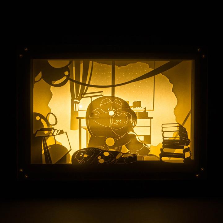 哆啦a梦与大雄立体光影纸雕灯