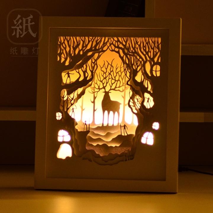 3d立体相框光影纸雕灯