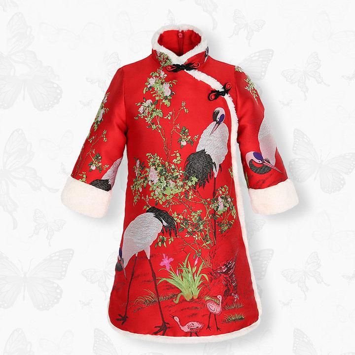 儿童旗袍裙冬裙丹顶鹤锦缎