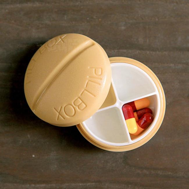 oou四分格迷你简约分装小药盒 超便携密封口盒 创意可爱随身圆形