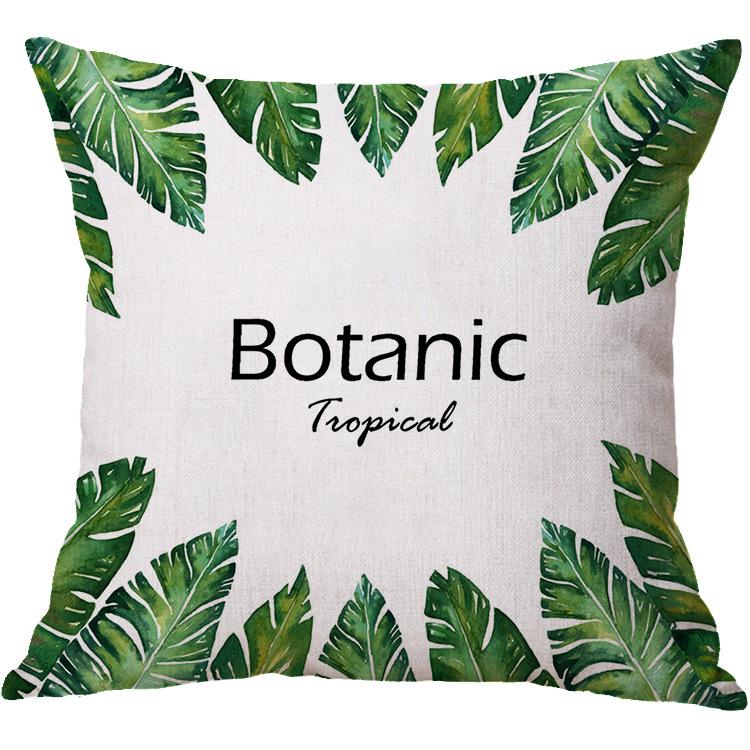 北欧简约 棉麻抱枕绿色植物 沙发车用靠垫