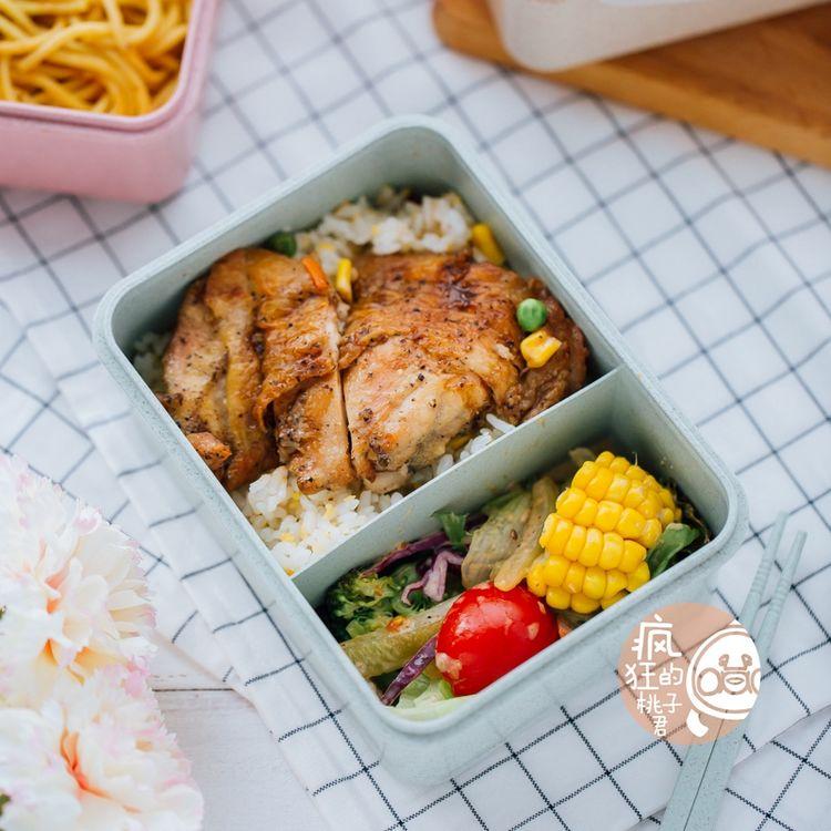 韩版麦秸秆饭盒分格小学生便当盒带盖分隔儿童餐盘微波炉成人餐盒图片
