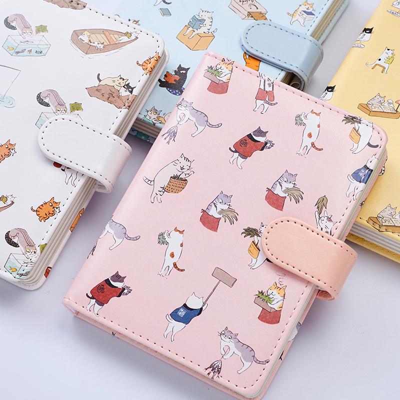 猫猫 创意可爱皮面笔记本文具手账本学生 记事本子日式加厚手帐本