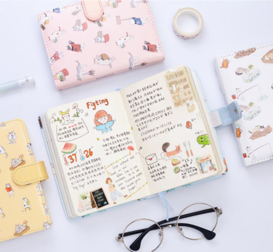 猫猫 创意可爱皮面笔记本文具手账本学生 记事本子日式加厚手帐本图片