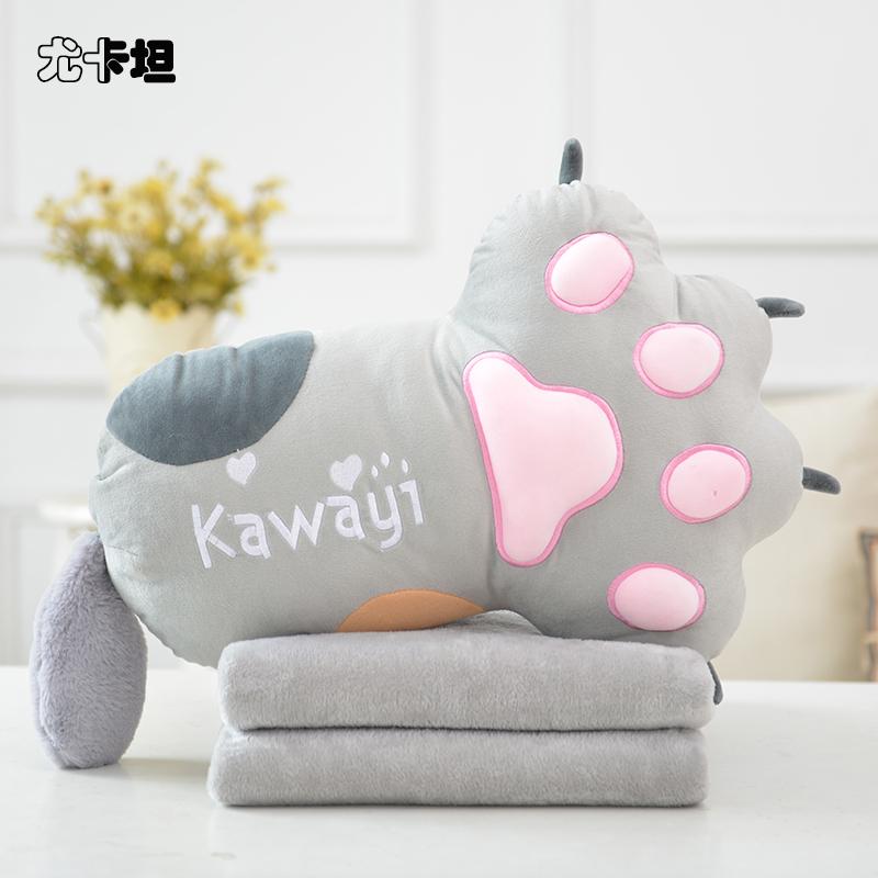 原创可爱猫爪抱枕被子两用办公室午睡毯子靠垫腰靠汽车珊瑚绒被