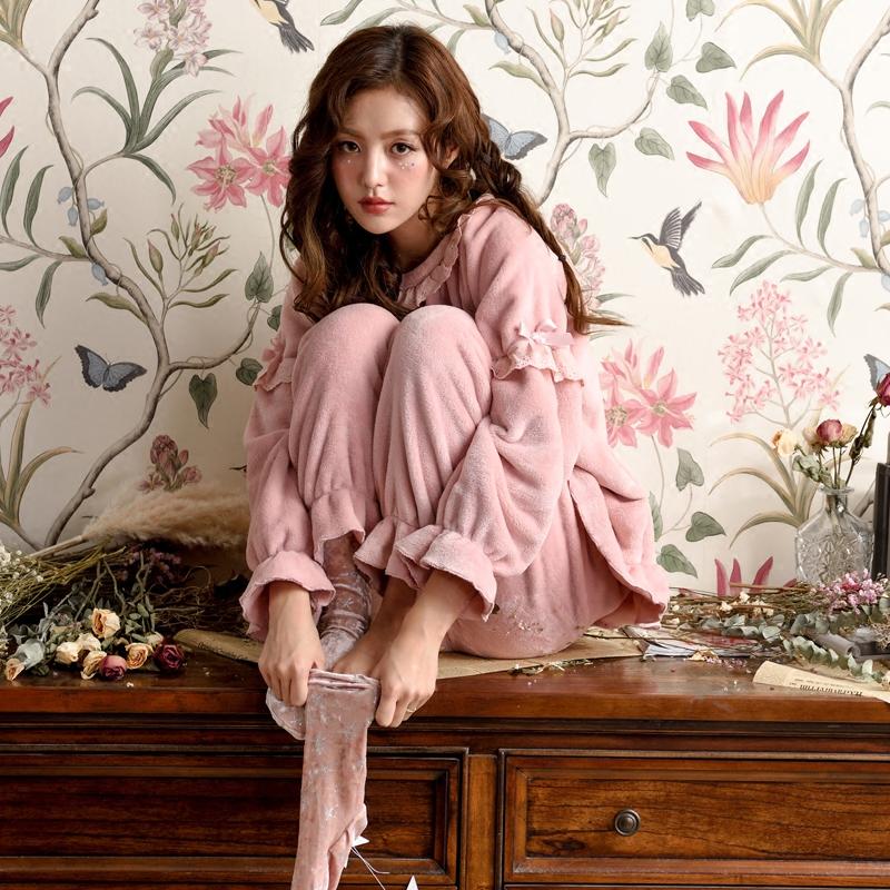 睡衣女冬珊瑚绒韩版甜美可爱公主套头女式冬季加厚保暖秋冬款加绒
