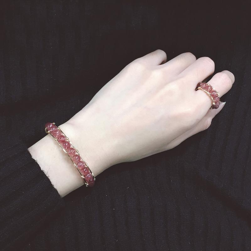 14k包金草莓水晶 转运珠食指戒指 招桃花 森系大气