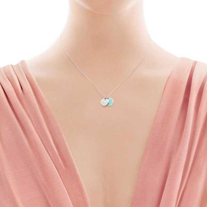 TIFFANY&CO925银镶双心形珐琅蓝心粉心爱心吊坠女士项链生日礼物 GRP06366