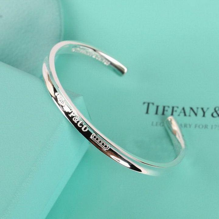 Tiffany经典1837款925纯银窄版开口手镯银色GRP02408