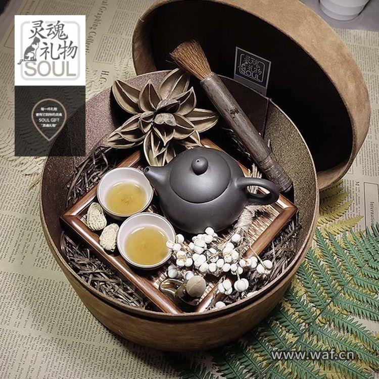 紫砂壶文艺干花礼盒,送长辈的礼物,表孝心又诚意满满