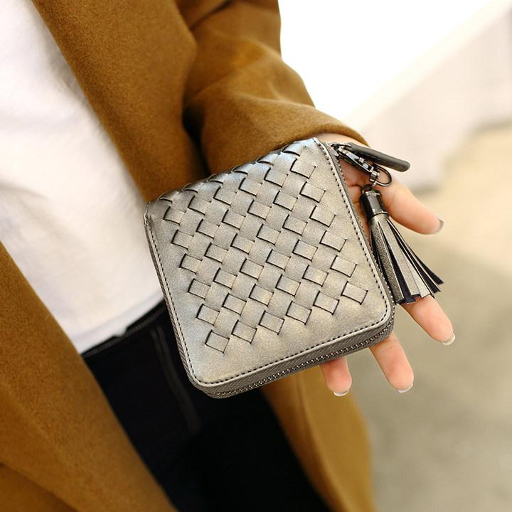 索爱新款潮编织短款拉链钱包黑色小钱包时尚流苏钱夹女款