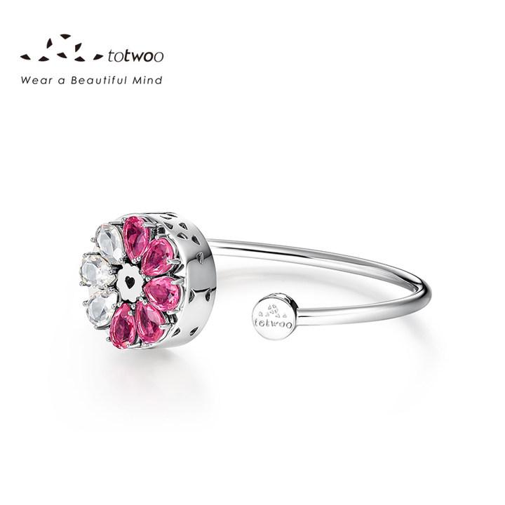TOTWOO新款智能珠宝女士简约个性手镯生日礼物花朵 925银镀18K金