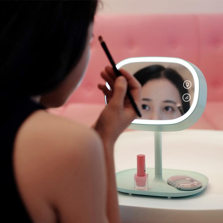 MUID带灯LED化妆镜台灯 化妆镜子 置物 台灯 生日礼物送女友
