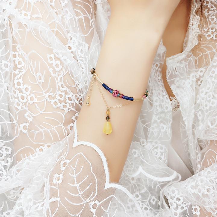 【女神款|聚财旺夫】天然巴西彩虹糖果蜜蜡碧玺K金手链