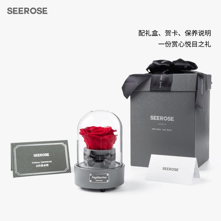SEEROSE音乐盒玻璃罩12星座进口永生花玫瑰礼盒七夕情人节生日礼物