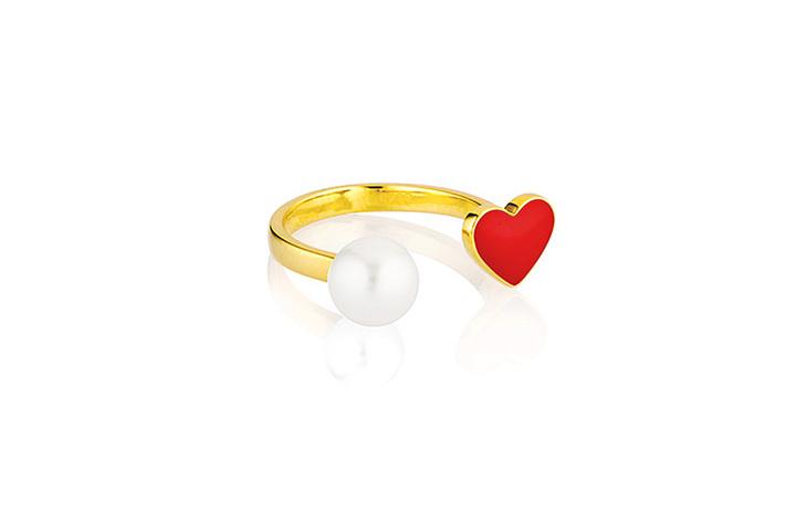 Celestine爱心珍珠戒指