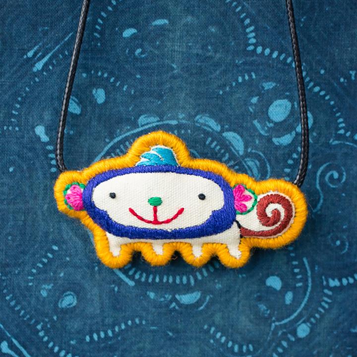十二生肖项链 原创设计手工刺绣复古创意棉麻配饰民族 文艺锁骨链
