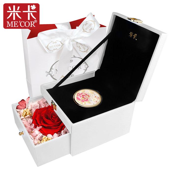 MECOR米卡化妆镜永生花礼盒随身便携折叠小镜子创意生日礼物定制