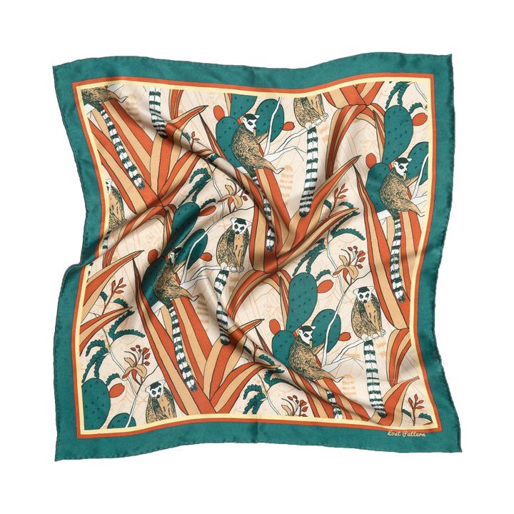 双成记|乐园系列|狐猴仙人掌印花真丝缎面小方巾 墨绿