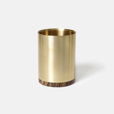 意外创意礼品金属木心笔筒实木黄铜笔座摆件时尚办公桌面收纳圆形
