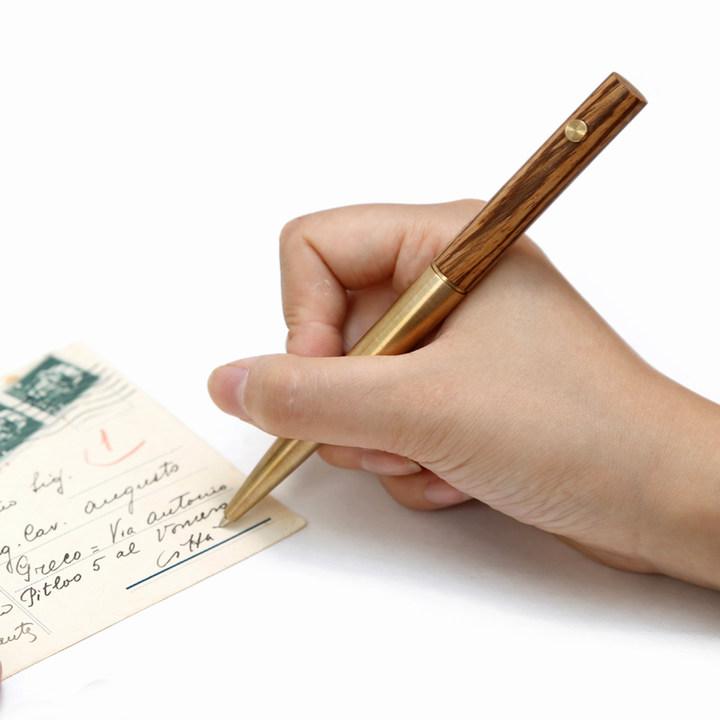 匠心之笔02 设计中性笔 创意文具金属黄铜笔 黑笔签字笔