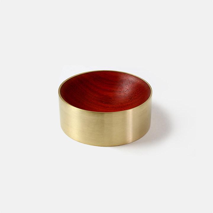 意外木心置物盒黄铜+实木文具创意礼品纸镇磁性回形针盒桌面收纳