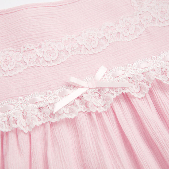 乐潘朵纯棉绉布蕾丝七分袖中长款睡裙