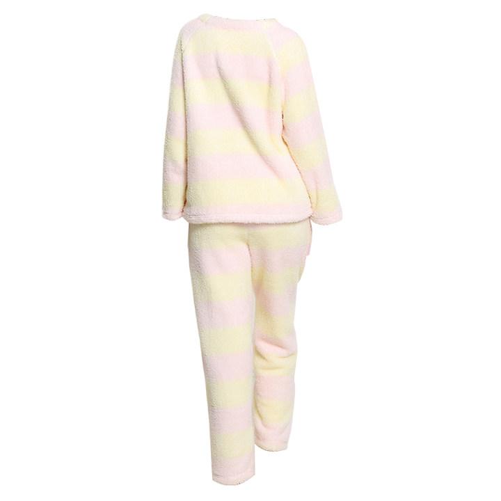 乐潘朵秋冬珊瑚绒加厚V领套头条纹家居服套装