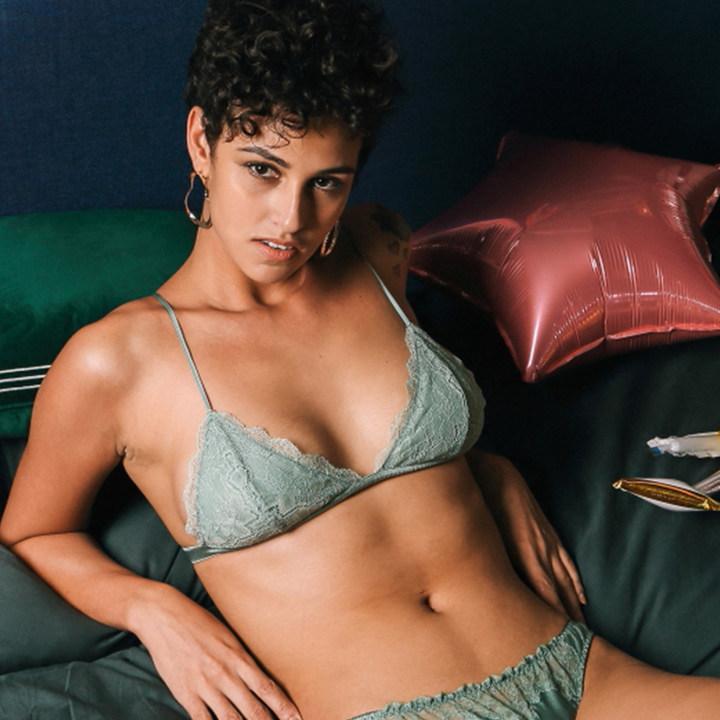 Lucia Berutto正品蕾丝三角杯文胸薄款无插片无钢圈性感内衣女