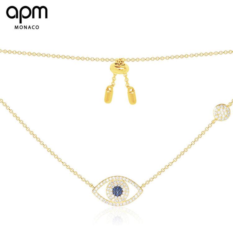 """金色幸运眼项链,「APM明星同款首饰」买得起的""""真金白银真宝石"""""""