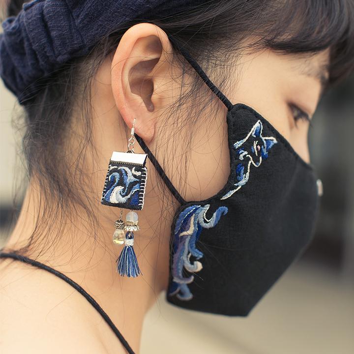 王的手创 《九尾灵狐》立体手工刺绣diy口罩制作材料包耳环材料包