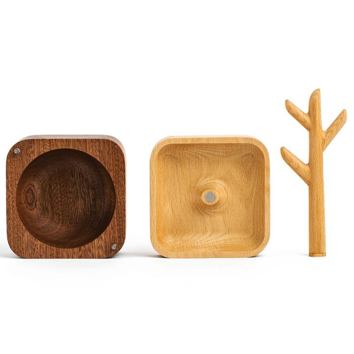 自然和家实木首饰盒创意木质首饰架子展示收纳盒挂创意礼物送女友