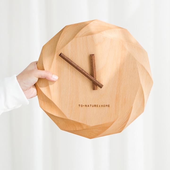 自然和家 北欧时尚原木静音时钟 客厅现代创意简约圆形挂钟 玫瑰