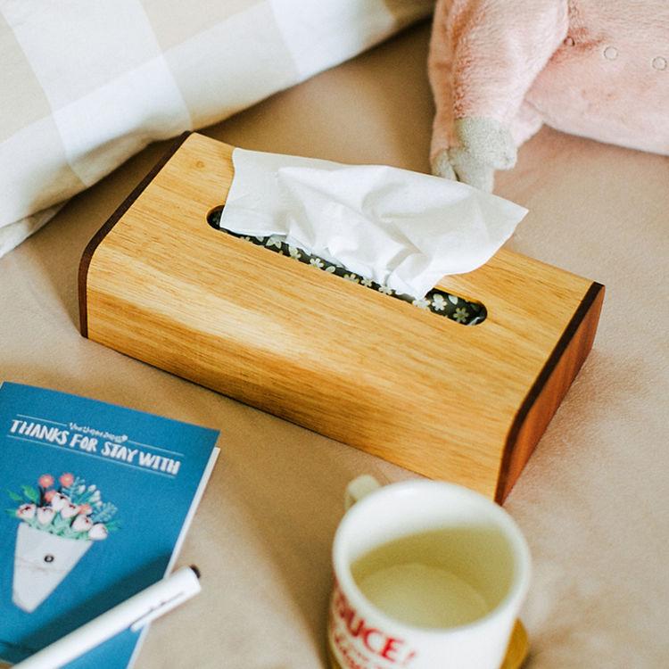 自然和家 原木制客厅纸巾盒 创意时尚简约欧式抽纸盒 若