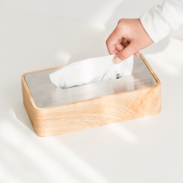 自然和家 原木制客厅纸巾盒 创意时尚简约欧式抽纸盒 质凡