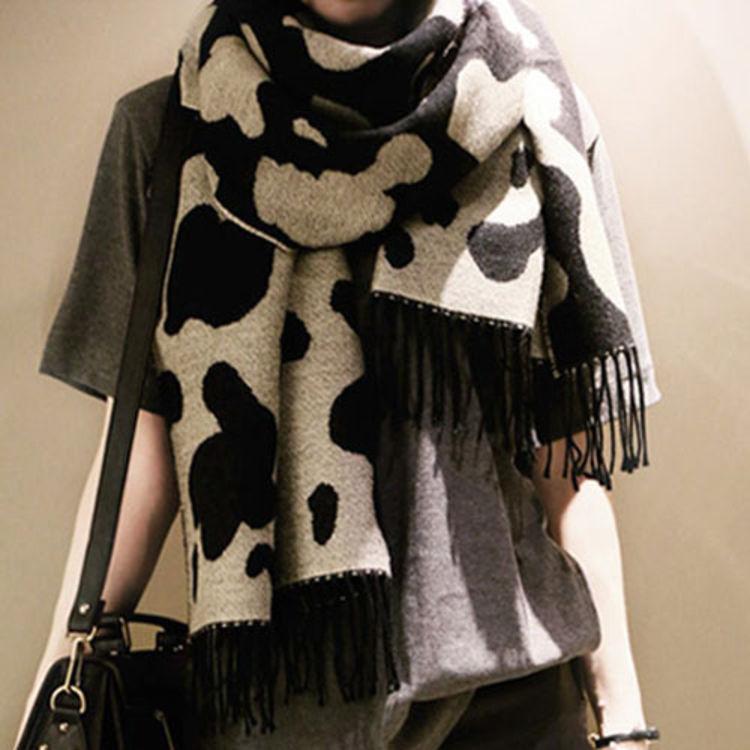 东大门奶牛围巾,天冷了,好看百搭女式围巾来一打!