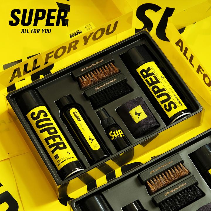 SUPER速啪洗鞋清洁刷鞋擦鞋防水喷雾球鞋湿巾全新8件套礼盒装