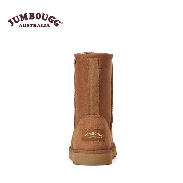 JUMBOUGG澳洲羊皮毛一体雪地靴女中筒靴加厚冬季保暖防滑