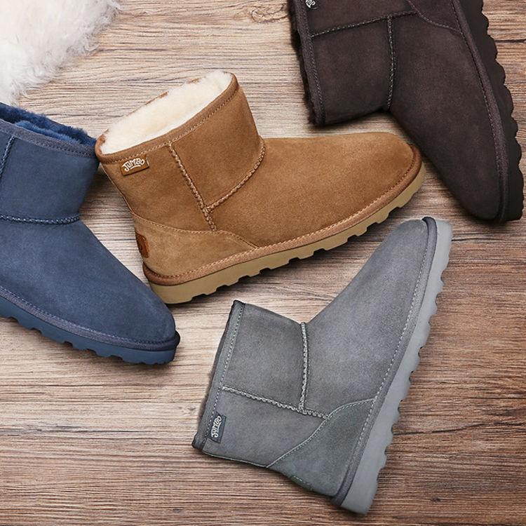 JUMBOUGG简帛澳洲羊皮毛一体雪地靴女冬季短靴平底防滑女靴