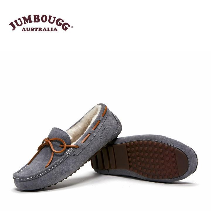 JUMBOUGG简帛冬季澳洲羊皮毛一体豆豆鞋女平底鞋单鞋保暖加厚