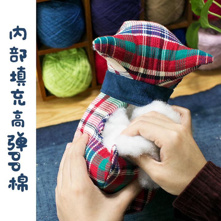 王的手创 狗狗公仔手工刺绣棉麻手织布刺绣太空棉蓝染