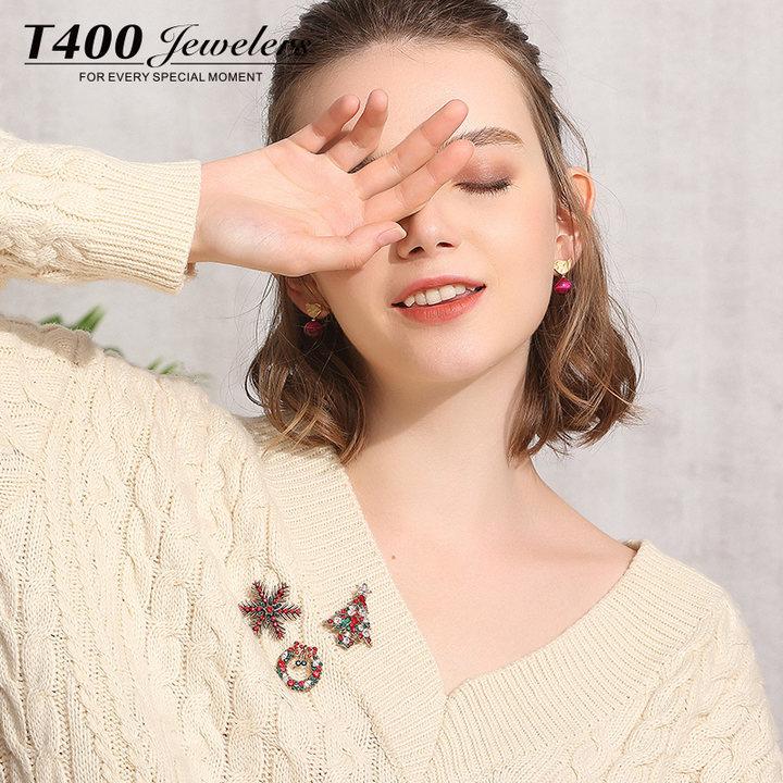T400圣诞毛衣胸针胸花女别针配饰气质简约百搭